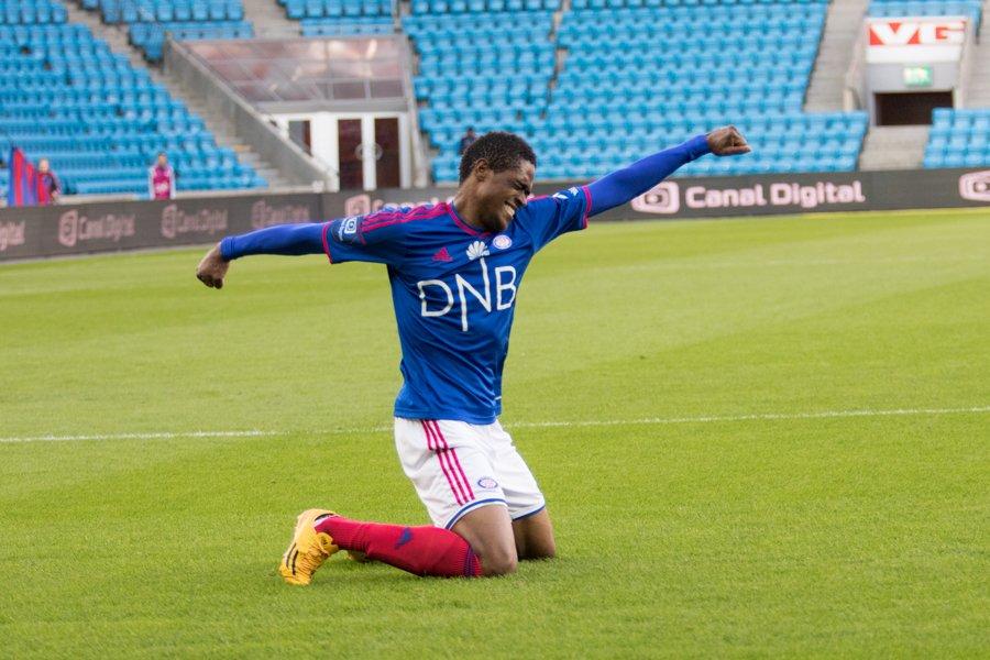 Deshorn Brown har økt til 2-0 mot FK Haugesund. Foto: grydis.no