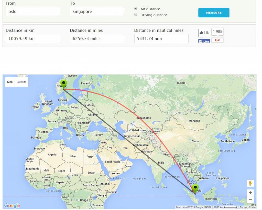 Skjermdump www.distancefromto.net/