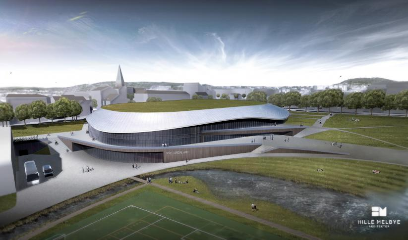 Nye Jordal Amfi. Illustrasjon: Hille-Melbye Arkitekter (http://hille-melbye.no/news)