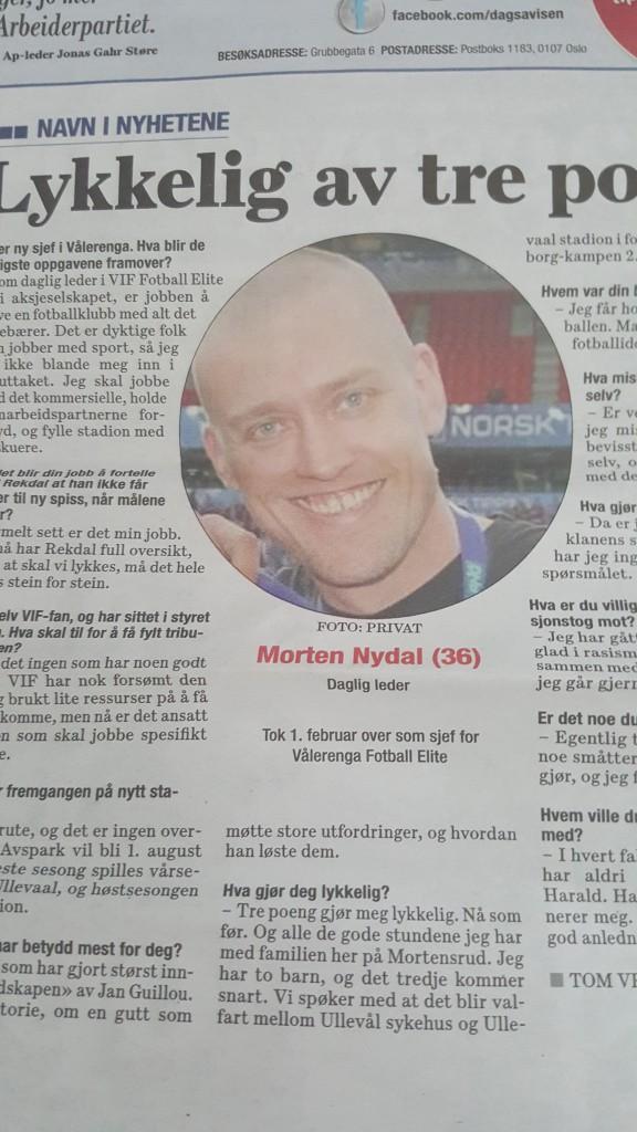 """Morten Nydal var """"Navn i nyhetene"""" hos Dagsavisen. Faksmile Dagsavisen fredag 19/2-16"""