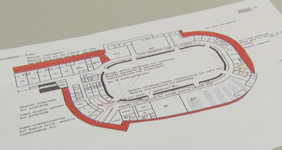 De røde feltene er elementer som vurderes å kutte. Skjermdump: NRK.no / Dagsrevyen 6.4.16