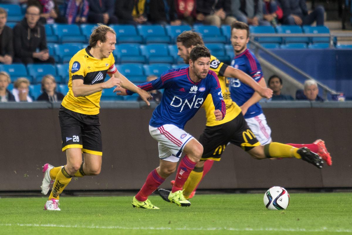 Daniel Fredheim Holm scoret Vålerengas første mål mot Vidar. Foto: Grydis.no