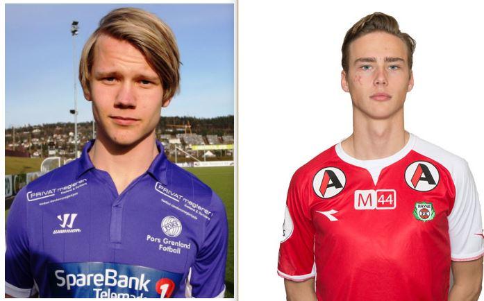 Thomas Elsebutangen (Foto: Pors Grenland) og Magnus Retsius Grødem (Foto: Bryne) er visstnok begge på vei til Vålerenga.