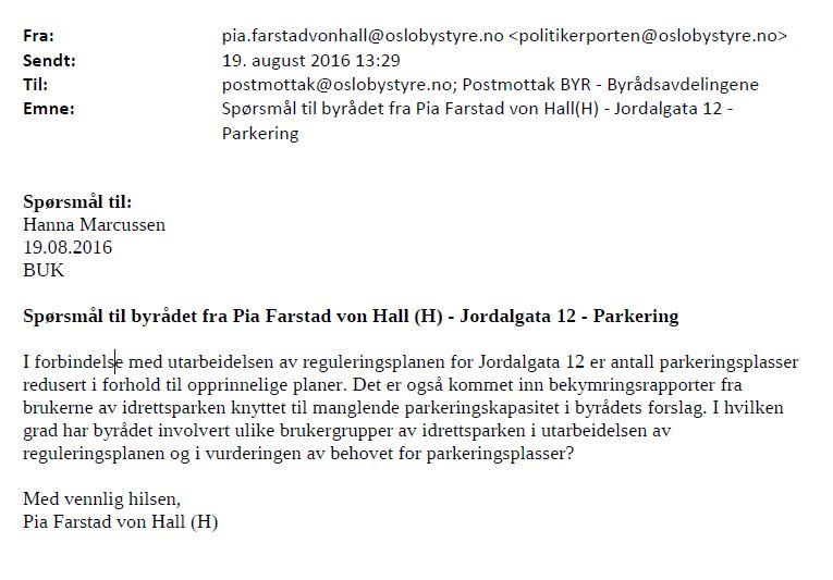 Brev fra von Hall. Skjermdump: innsyn.pbe.oslo.kommune.no